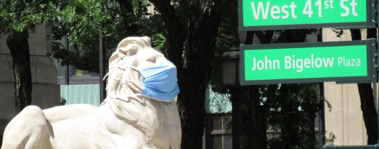 NYPL Lion Fortitude with a mask